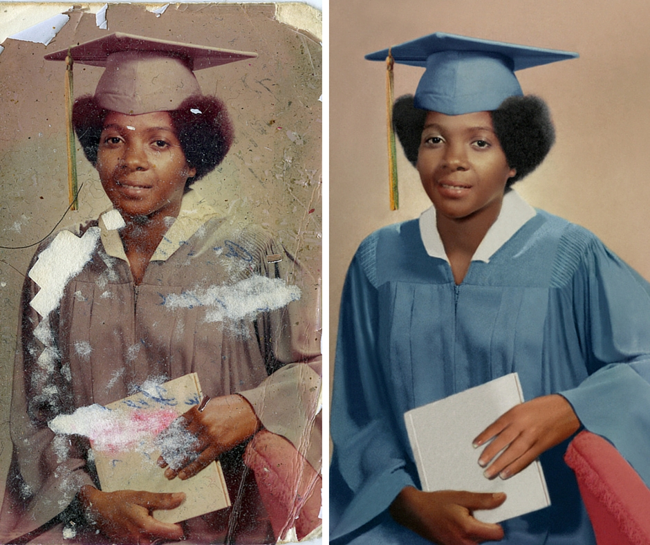Photo Restoration Before and After Example